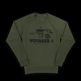 Nerdindustries Voyager als schwarzer Frontprint auf olivgrünem Sweatshirt