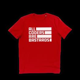 Nerdindustries All Coders are Bastards weißer Frontprint auf rotem T-Shirt